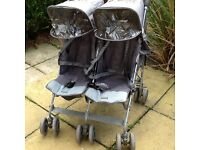 McLaren twin buggy with brand new twin rain cover