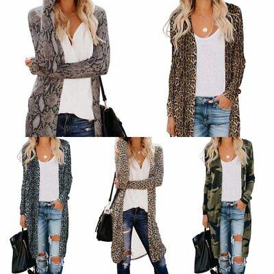 Women Ladies Leopard Camo Cardigan Coat Long Jacket Outwear Tops Kimono for Fall
