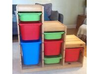 IKEA children's solid wood storage unit.