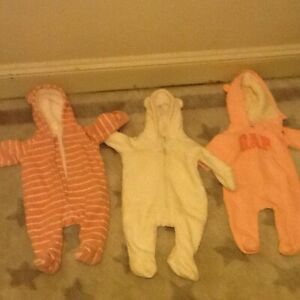 3  x  Baby Girl Snowsuits (3-9 months)
