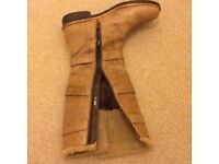 REAL LEATHER FUR LINED TAN BOOTS