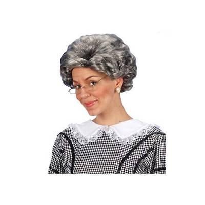 Alte Oma Kostüme (Agatha Christie Grau Perücke Krimi Kriminalität Alt Damen Tv Oma Kostüm)