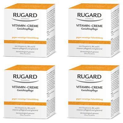 Creme Trockene Haut (RUGARD VITAMIN CREME 4x100ml Antifaltenpflege für trockene Gesichtshaut + PROBEN)
