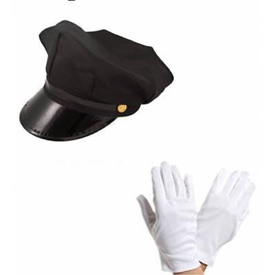 Chauffeur Kappe Limo Hochzeit Fahrer Hut und Weiße Handschuhe Kostüm Set