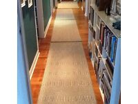 Runners (3) and matching rug, grey and soft white, contemporary