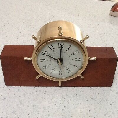 Vintage Brass Quartz Nautical Ships Wheel Mantel Clock