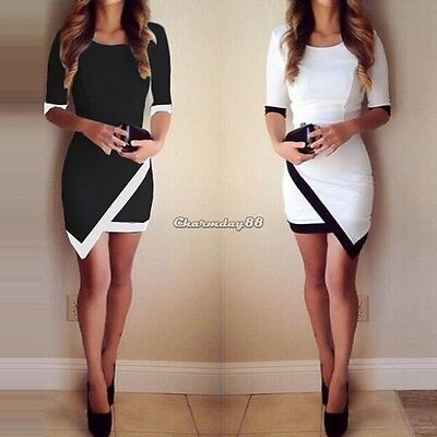 Ladies Sexy O Neck Short Sleeve Evening Party Bodycon Asymmetrical Mini Dress C1
