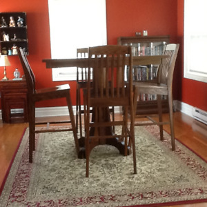 Solid Oak Pub Table and 4 Chairs