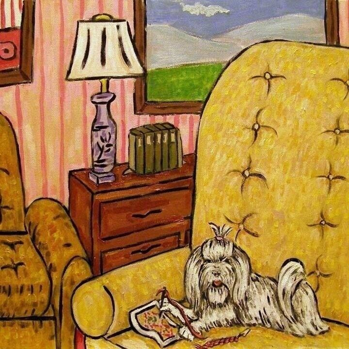 Maltese Doing Needlepoint picture ANIMAL  dog art tile