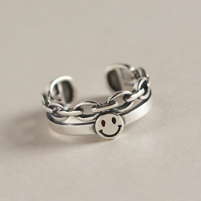 Vintage Smiley Face Adjustable Ring 925 Sterling Silver Women Girls Jewellery UK