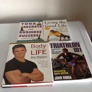 Collection of fitness and health books