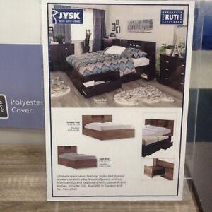 Queen size bedframe with memory foam mattress