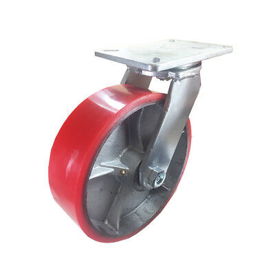 10 X 3 Polyurethane On Cast Iron Caster Red - Swivel