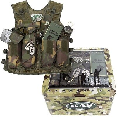 KIDS MEGA ARMY GIFT TIN FULLY LOADED CAMO BOYS SOLDIER VEST WHISTLE TORCH CARDS