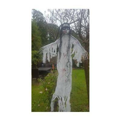 White Scary GHOST GIRL Hanging Carrie Halloween Party Decoration 150 cm (59