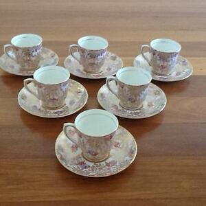 Colclough Bone China Coffee Cups and Saucers x 6 Taren Point Sutherland Area Preview
