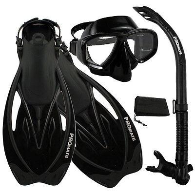 Snorkeling Purge Mask Snorkel Fins Scuba Dive Gear Set