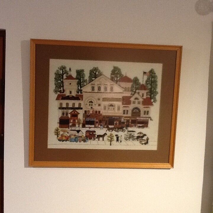Tapestry depicting Early American Street Scene