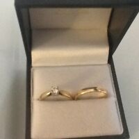 Gold Diamond Wedding Set