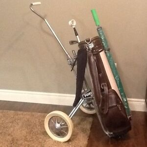 Golf bag, cart and accessories
