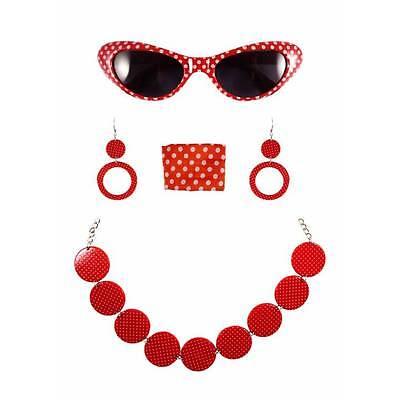 Rot 1950s Jahre Rock n Roll Fett Kostüm Gepunktet Satz Brillen Schal Ohrringe