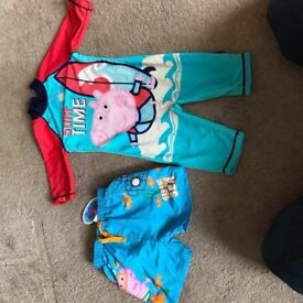 Swimwear All In One Suit And Brand New Shorts both George (Peppa) Pig Age 2-3 Years