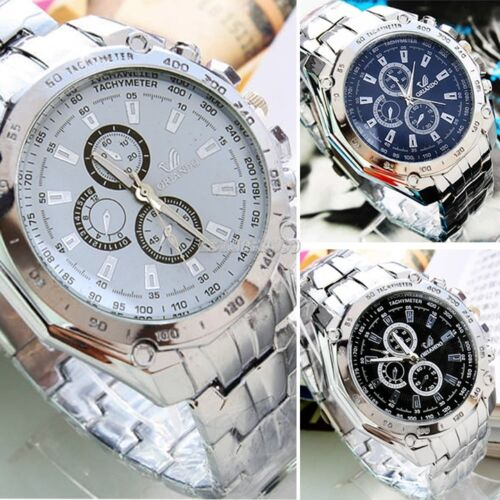 $7.92 - Men's Fashion Luxury Watch Stainless Steel Analog Quartz Sport Mens Wristwatches
