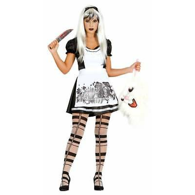 Dark Alice Malice in Wonderland Ladies Halloween Fancy Dress Med / Large