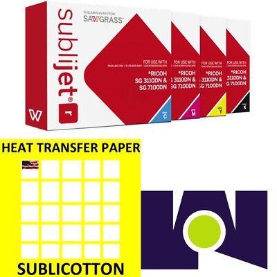 Sawgrass Sublijet 3110 Ink Set Cmyk Plus 100 Sheets Of Sublicotton Combo