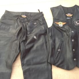 Harley Davidson Ladies Leather Trousers and Waistcoat
