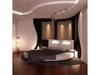 Round Double Bed Frame & Mattress.