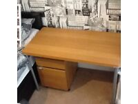 Wood effect desk table with matching office drawer cabinet on wheels that can fit under/near