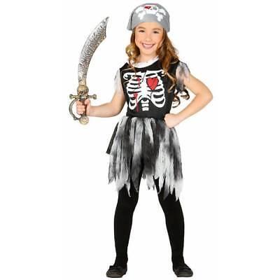 Girls Cute Zombie Skeleton Pirate Girl Halloween Fancy Dress Costume