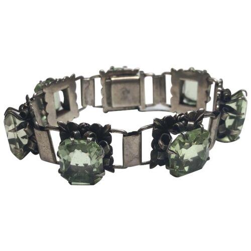 Vintage 900 Silver Uranium? Glass Bracelet