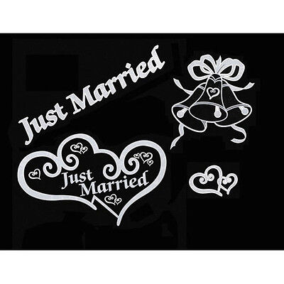 JUST MARRIED BRIDAL CAR WINDOW CLINGS WEDDING DECORATION BY VICTORIA LYNN Decorating Just Married Car
