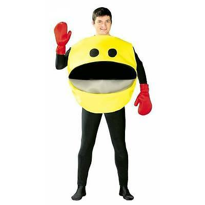 Adult Yellow Pacman Glutton Arcade Video Game 80s 90s Fancy Dress Costume