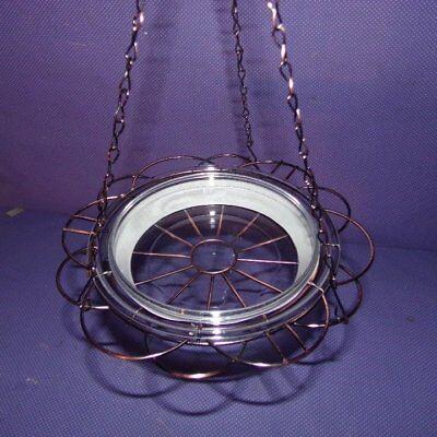 New in Box Hanging Bird Bath Feeder Plant Holder Wire Basket Chain Clear Dish