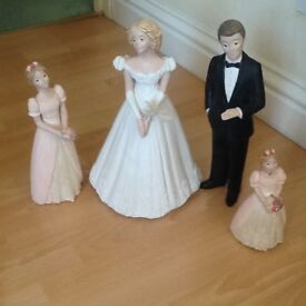 Bride and groom and flower girls ornaments
