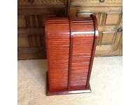 Wooden Wood Tambour Roll Top CD Rack Holds 48 CD's