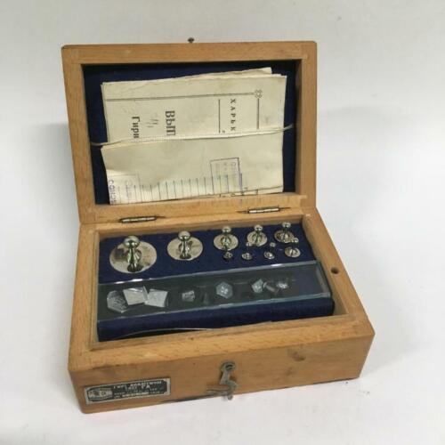 Vintage A Set Of Analytical Weights In a Wooden Box. USSR. Scales Vintage