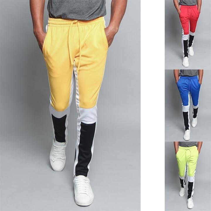 Men/'s Poly Side Ankle Zipper Slim Color Block Plaid Techno Track Pants New EPTM