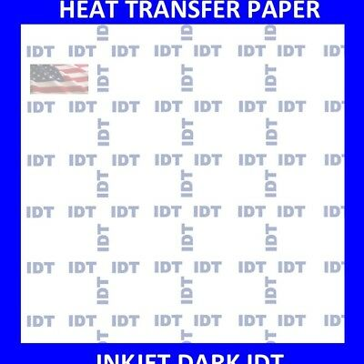 1 Heat Transfer Paper Iron On Dark T Shirt Inkjet Paper Idt 100 Pk 8.5x11 Usa
