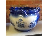 Large Pottery Planter. Blue glazed Victorian style