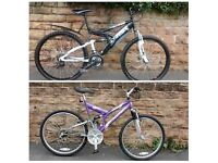 2 DUAL SUSPENSION BIKES FOR SALE