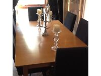 Solid wood dining room table @ 6 Highback Chairs