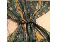Green(with blue) and yellow curtains 103 cm X 238 cm with matching rope tie backs