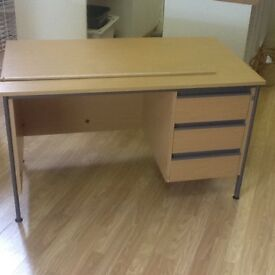 Beech effect desk with drawers
