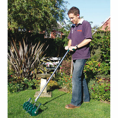 Suttons Lawn Aerator with 30 x 45mm Spikes H120cm D24cm W30cm Easy To Assemble