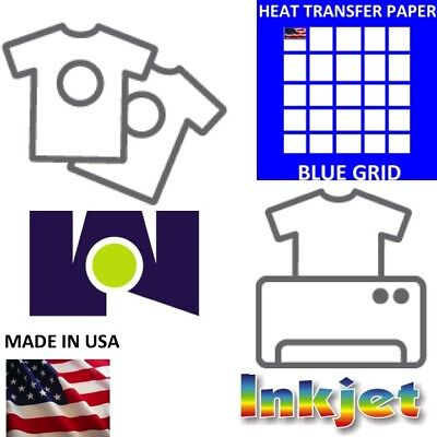Blue Grid Heat Transfer Paper Iron On Dark T Shirt Inkjet Paper 250 Pk 8.5x11