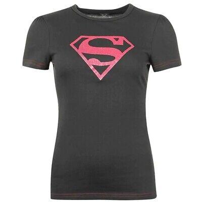 ✅ DC COMICS Superman Damen T-Shirt Oberteil Freizeit Top Rundhals Supergirl Pink
